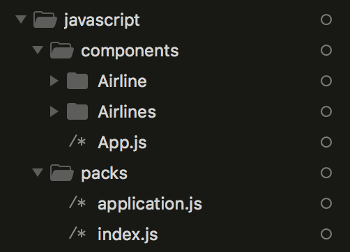 React Airlines Components Folder Example